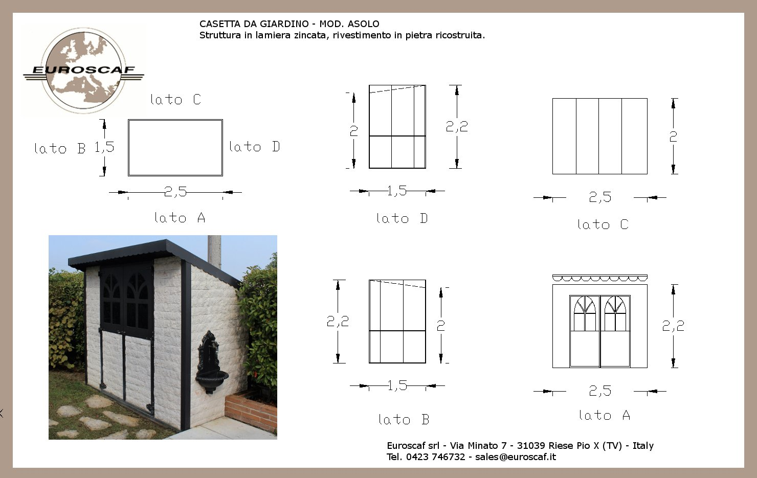 Garden shed mod. ASOLO technical description